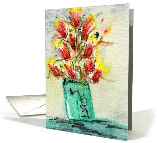 Red and Yellow Flowers In A Green Vase - Blank Note card (992179)
