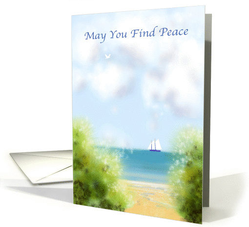 May you find peace, sea, sailing, sand, calm, tranquility, card