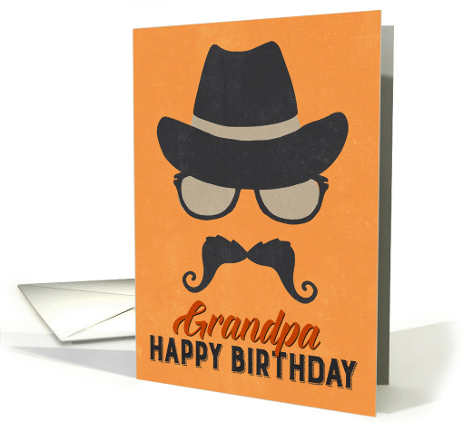 Grandpa Birthday Card - Hipster Style Hat Glasses... (1376800)