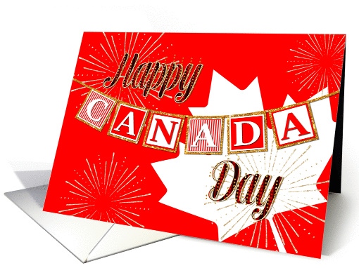 Happy Canada Day - Text Banner and Gold Sparkle Effect card (1386044)