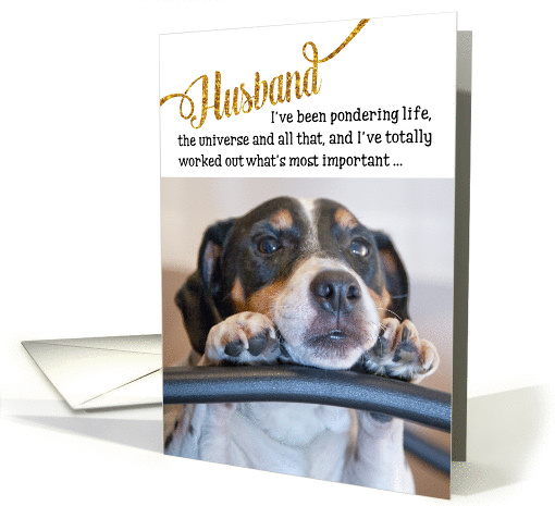Husband Funny Birthday Card - Dog Pondering Life and The Universe card