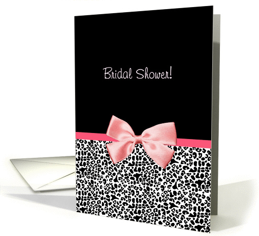 Trendy Leopard Print Bridal Shower Invitation With Pink Ribbon card