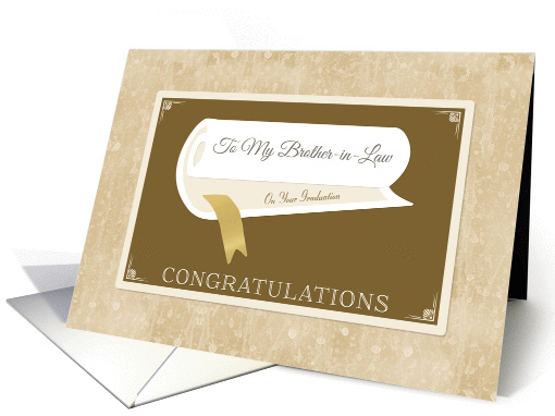 Classy Graduation Congratulations With Diploma For Brother In Law card