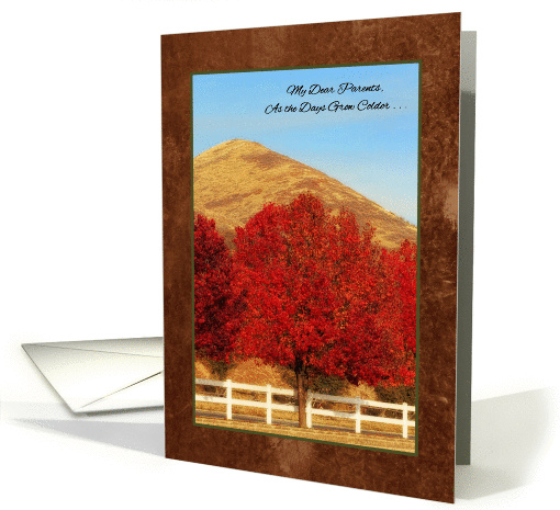 Autumn Greetings Thinking of You Parents Warms My Heart card (999821)