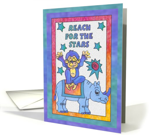 Blue Rhino and Monkey, reach for the stars card (811559)