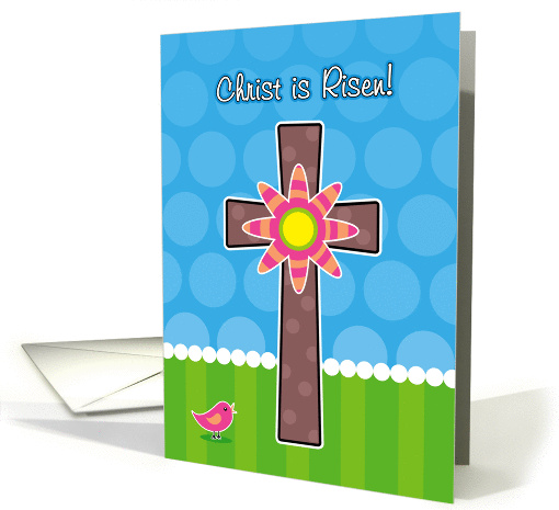 Christ is Risen, Whimsical Easter Cross with Flower card (896208)