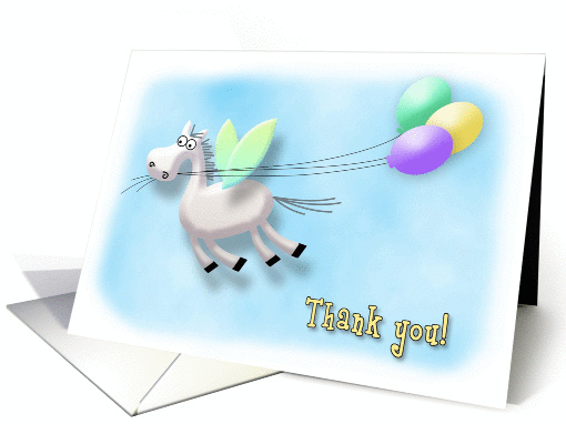 Thank you for the Baby Gift, Pegasus Horse with Balloons card (912596)