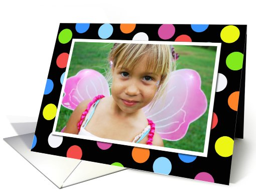 Happy Birthday Colorful Polka Dots Photo Card Invitation card (880575)
