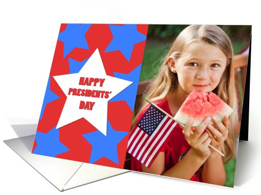 Happy Presidents' Day Red, White and Blue Stars Photo card (903205)