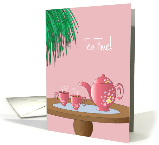 Tea Time Invitation to Tea Party with Tea Set and Hanging Fern card