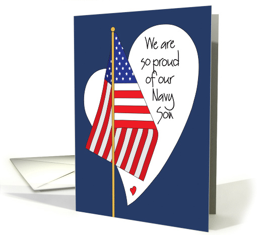 Birthday for Navy Son, American Flag, Heart and Hand Lettering card