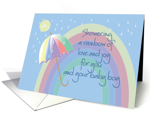 Hand Lettered Baby Shower for Mother & Baby Boy with Rainbow card