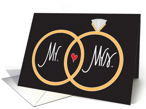Hand Lettered Wedding Congratulations, Mr. & Mrs. Wedding Rings card