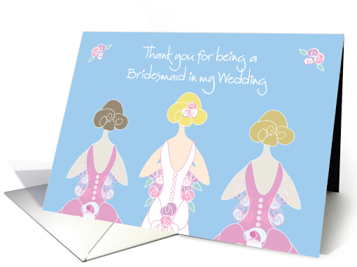 Thank you for Being a Bridesmaid in Wedding, Blond Bride card