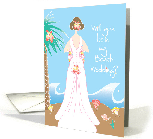 Invitation for Wedding Party for Beach Wedding, Brunette Bride card