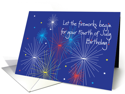 Birthday on Fourth of July with Fireworks and Stars card (1061263)