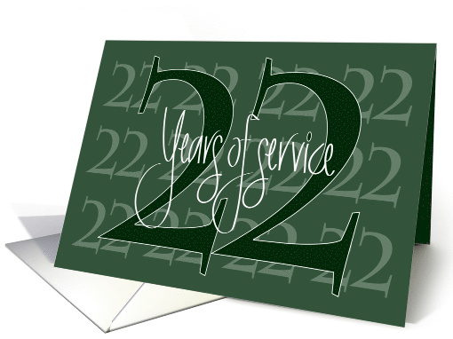 Hand Lettered Business Employee Anniversary 22 Years of Service card