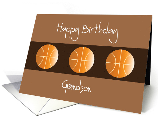 Birthday for Grandson, Trio of Basketballs on Brown card (1169010)