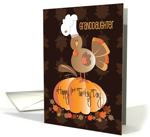 First Thanksgiving for Granddaughter, Turkey in Chef's Hat card