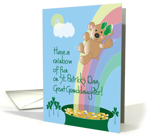 St. Patrick's Day for Great Granddaughter, Bear On Rainbow card