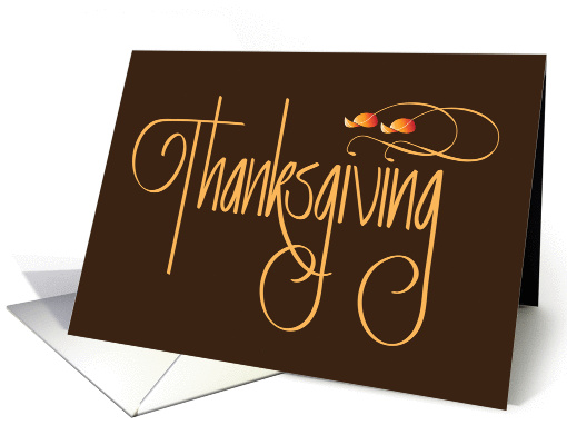 Thanksgiving for Business, Calligraphy and Floating Leaves card