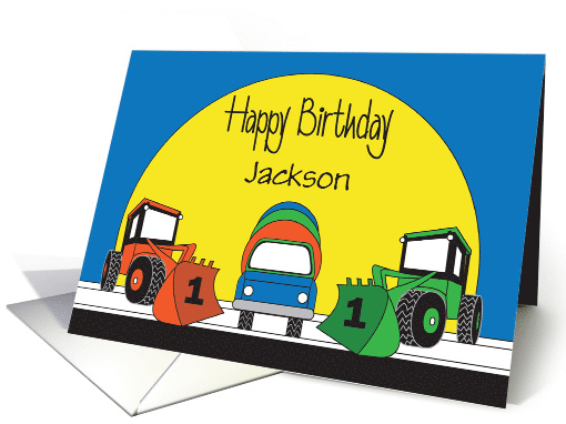 1st Birthday with Red Fire Truck, Cupcake & Candle Balloons card