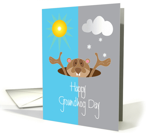 Groundhog Day, Groundhog with Sunshine and Snowflakes card (1340970)