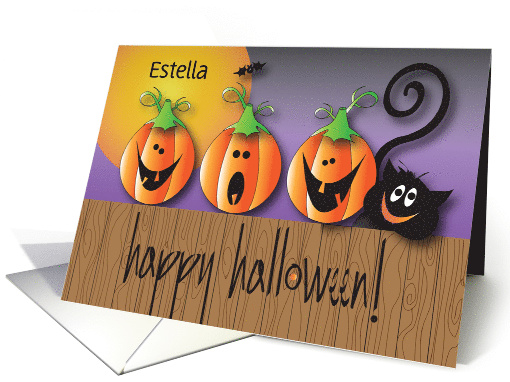 Halloween with Custom Personalized Name, Flying Kitty card (1376476)