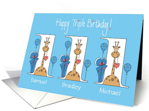 Birthday for Triplets, 3 Boys, Giraffes With Bows and Balloons card