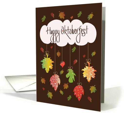 Oktoberfest with Brilliantly Colored Fall Leaves & Cloud card