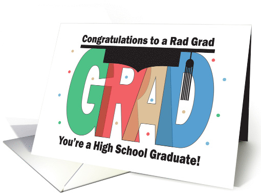 Graduation, Rad Grad Mortarboard for High School Graduation card