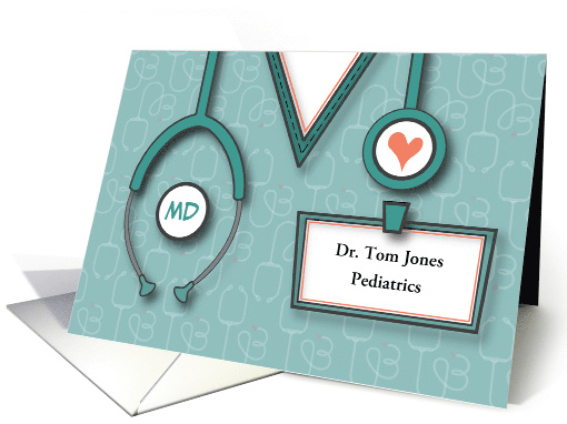 Doctors' Day 2020 with Custom Name Tag and Stethoscope & Heart card