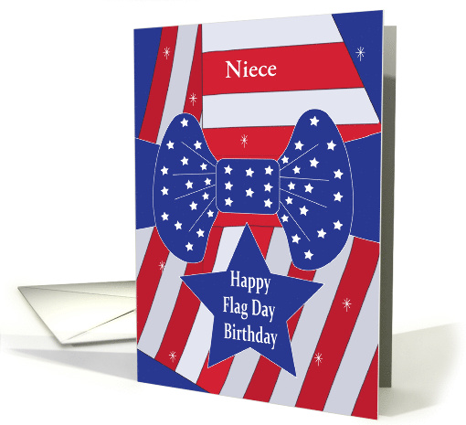 Flag Day Birthday with Flag and Star Bow, Customized Relation card