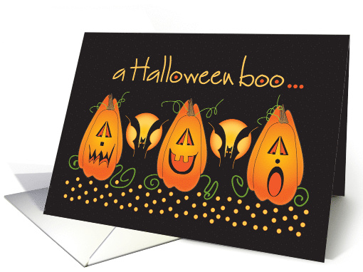 Hand Lettered Halloween boo with trio of Jack O'Lanterns and bats card