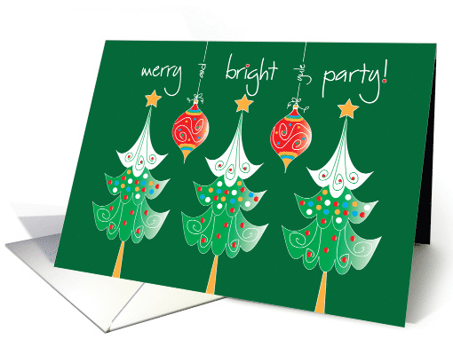 Hand Lettered Christmas Party Invitation, Merry & Bright Trees card
