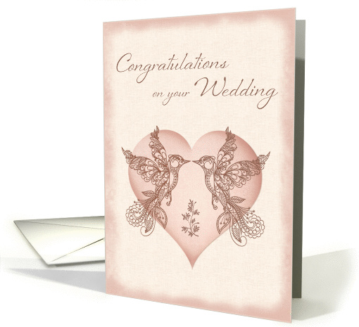 Wedding Congratulations - Paisley Lovebirds and Heart card (1402782)