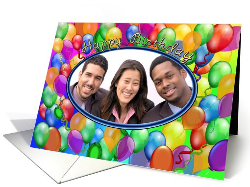 Happy Birthday Balloons multicolor Photo card (858970)