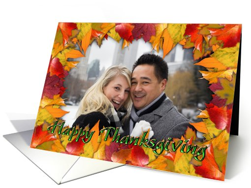 Happy Thanksgiving Autumn Leaves Photo card (864536)