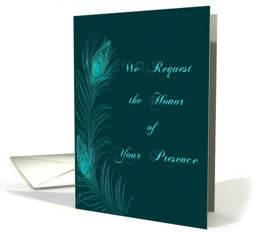 Peacock Feather Wedding Invitation in Teal card (908125)