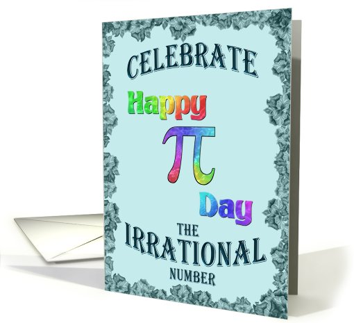 Multicolor Happy Pi Day Wish on Teal card (910599)