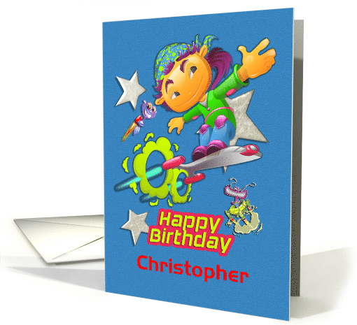Happy Birthday Custom Name Skateboarder, Stars, Aliens... (1367536)