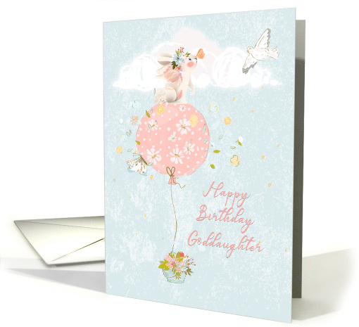 Happy Birthday to Goddaughter Bunny Floating on Balloon card (1562728)