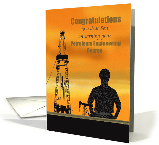 Son earning petroleum engineering degree, land rig and pump jack card