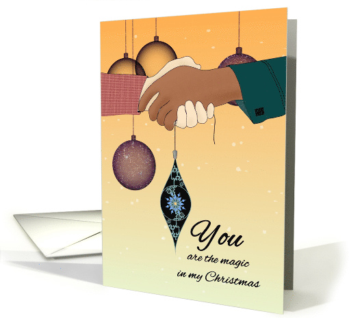 Christmas for Gay Boyfriend Interracial Couple, Clasping Hands card