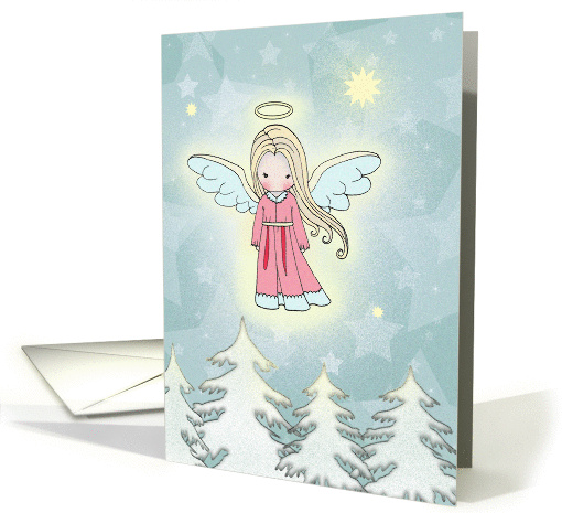 Little Christmas Angel above the Trees card (872351)