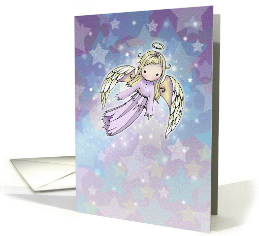 Christmas Angel Card - Little Lavender Angel in Stars card (873092)