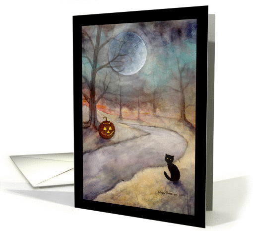 Halloween Black Cat and Jack-o-Lantern card (964499)