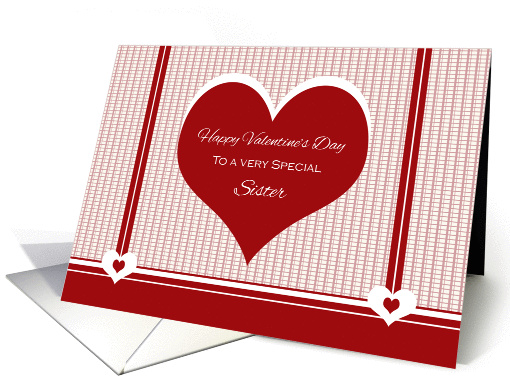Happy Valentine's Day to Sister ~ Red and White Hearts card (1027273)