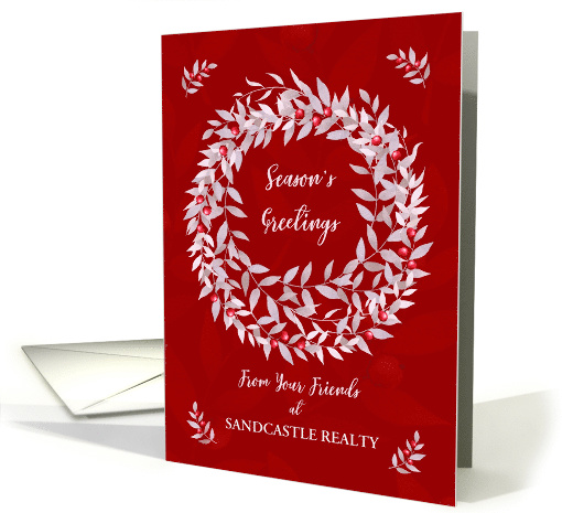 Season's Greetings from Business Custom Business Name Wreath card