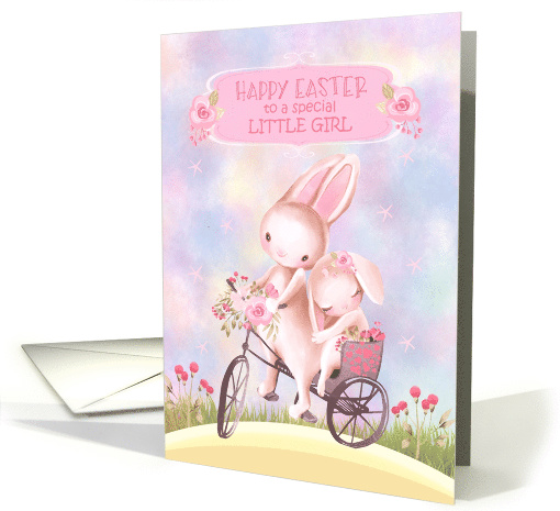Happy Easter for Little Girl Sweet Bunnies on a Bicycle card (1560846)